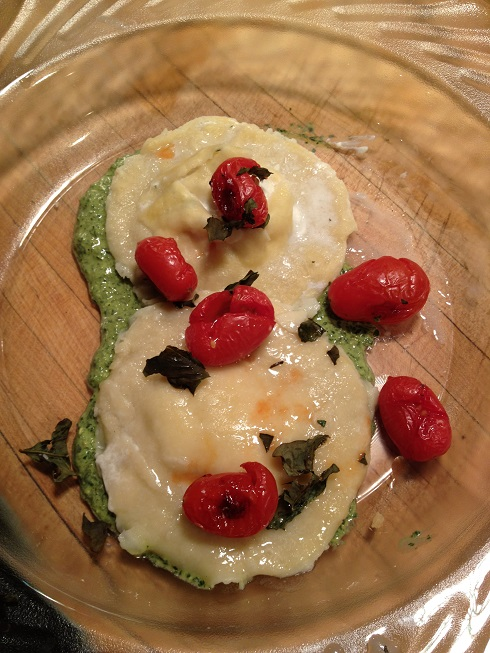 Frank's Cucina Goat cheese tortellini with pesto & roasted tomatoes