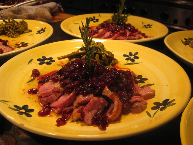 Duck breast with port and cherry sauce