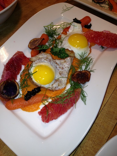 Scallops with carrots cooked 3 ways, fried quail eggs, blood orange, purple potato & caviar