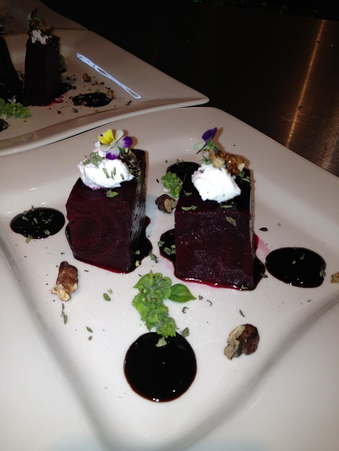 Beet salad with a twist with goat cheese & a balsamic reduction